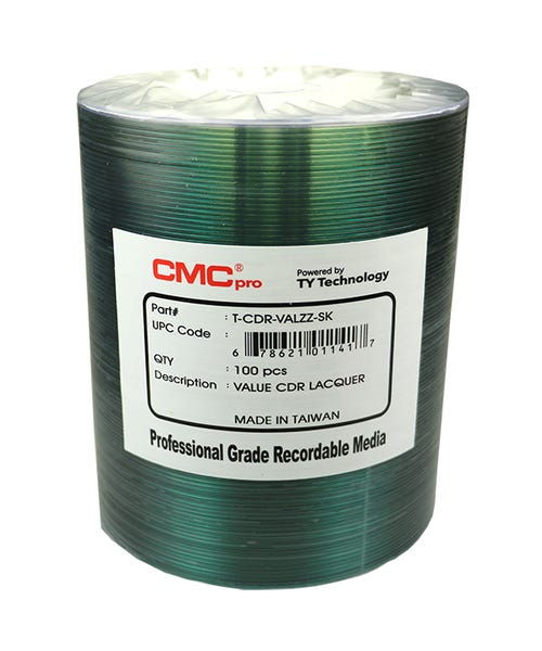 CMC Pro Taiyo Yuden 52X ValueLine Shiny Silver Thermal CDR - 100pc