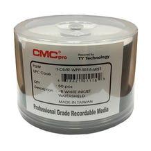 CMC Pro Taiyo Yuden 16X WaterShield White Inkjet Hub Printable 4.7GB DVD-R - 50pc