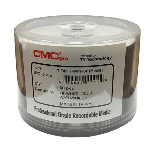 CMC Pro Taiyo Yuden 16X WaterShield White Inkjet Hub Printable 4.7GB DVD-R - 50pc