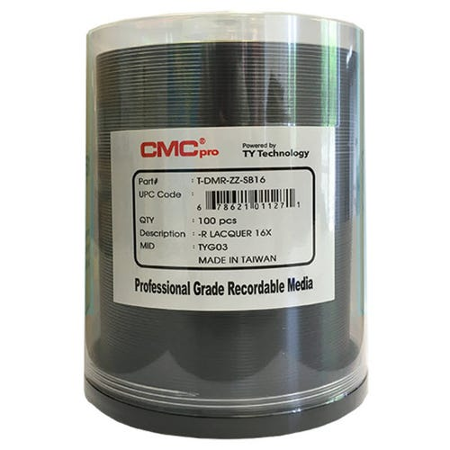 CMC Pro Taiyo Yuden 16X Silver Lacquer Thermal 4.7GB DVD-R Cake Box - 100pc