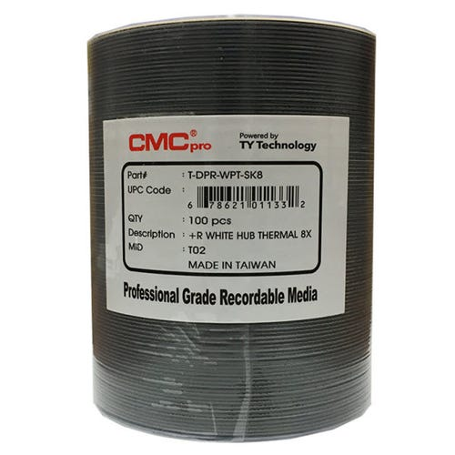 CMC Pro Taiyo Yuden 8X White Thermal Hub Printable 4.7GB DVD+R Shrinkwrap - 100pc