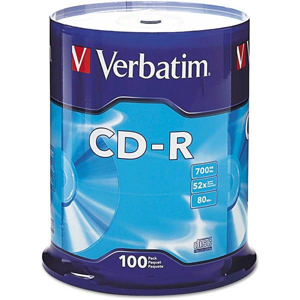 Verbatim 52X Branded 80 Min CDR Cake Box - 100pc