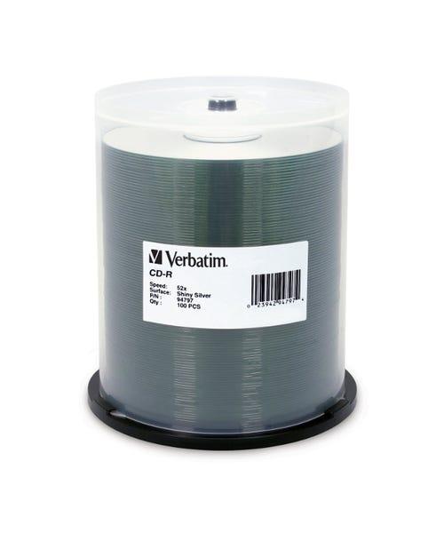 Verbatim 52X Shiny Silver Silk Screenable 80 Min CDR Cake Box - 100pc