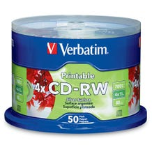 Verbatim 4X Silver Data Life Plus Inkjet 80 Min CD-RW Cake Box - 50pc