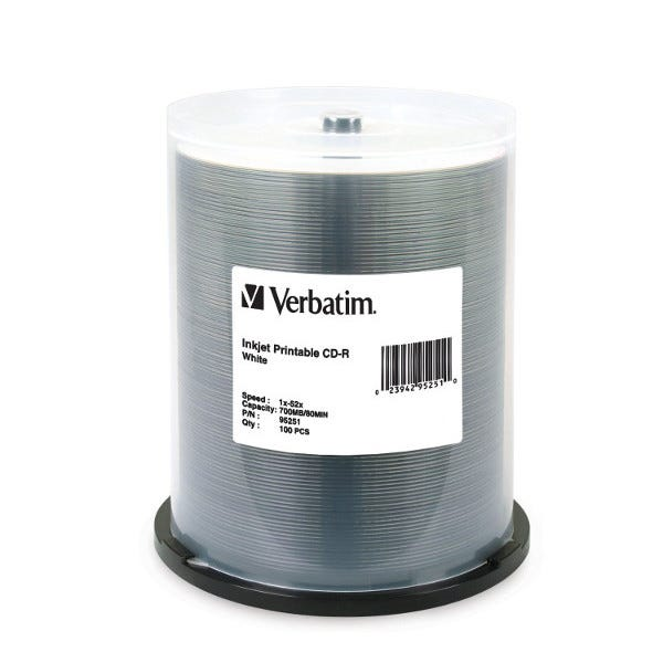 Verbatim 52X White Inkjet 80 Min CDR Cake Box - 100pc