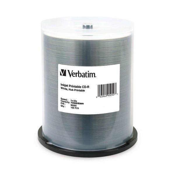 Verbatim 52X White Inkjet Hub Printable 80 Min CDR Cake Box - 100pc