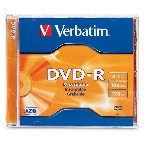Verbatim 16X Branded 4.7GB DVD-R in Jewel Case - 1pc