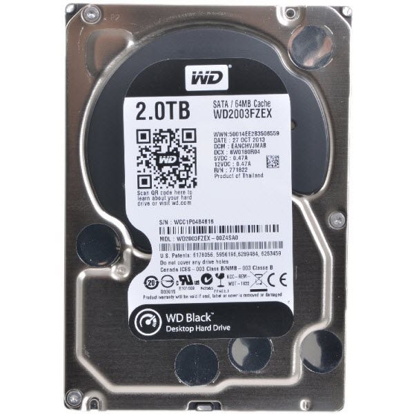 "WD Black WD2003FZEX 2 TB 3.5"" Internal Hard"