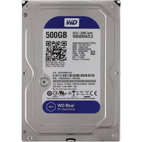 "WD Blue 500 GB 3.5"" Internal Hard Drive - SATA - 7200 - 32 M"