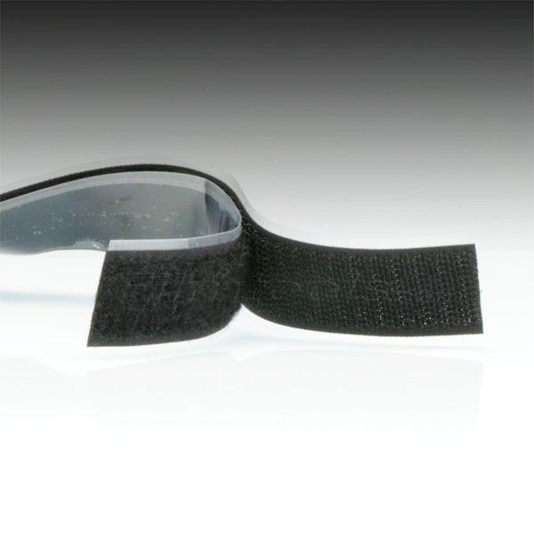 "1"" Black Hook and Loop Adhesive Backed Material - 3 Feet"