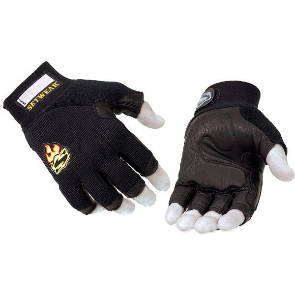 Setwear Black 3/4 Fingerless Leather Gloves - XX-Large