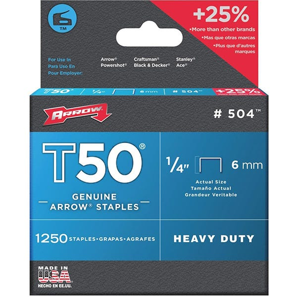 "Arrow T50 Staples - (6mm) 1/4"""