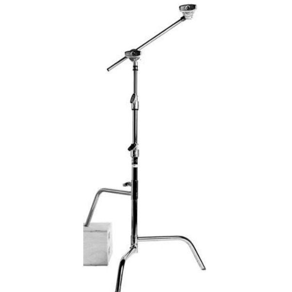 "Matthews Studio Equipment 20"" Chrome Hollywood Century C-Stand with Sliding Leg, Grip Head & Arm"