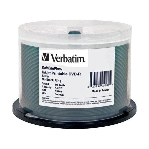 graphic about Printable Dvd Discs called Verbatim 8X DataLifePlus Silver Inkjet Printable 4.7GB DVD-R - 50laptop