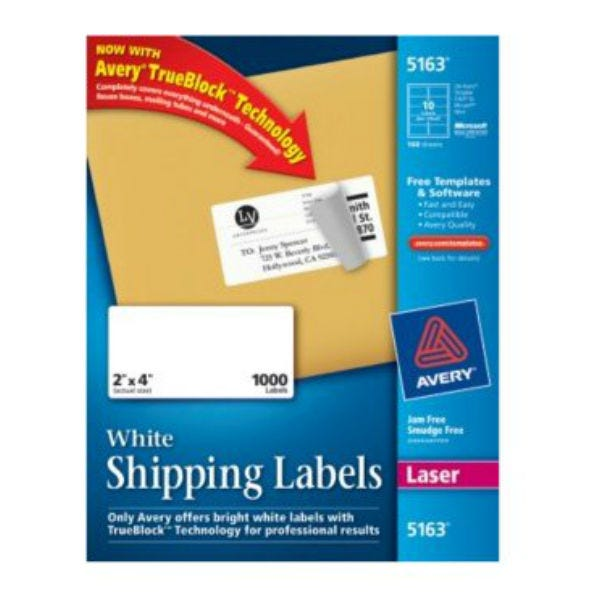 """Avery 5163 Laser Shipping Labels. 2"""" x 4"""" (1000 Labels)"""