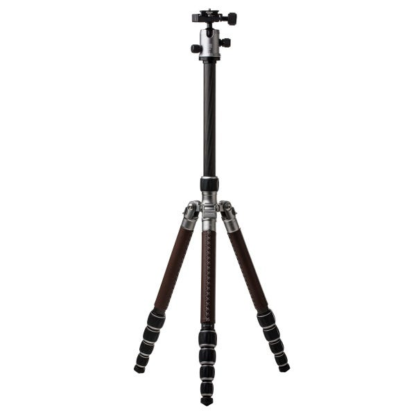 MeFoto RoadTrip Leather Carbon Fiber Travel Tripod - Titanium