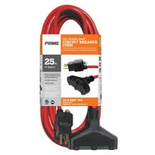 Prime No-Overload Triple Tap Extension Cord / Red 25' CB614725