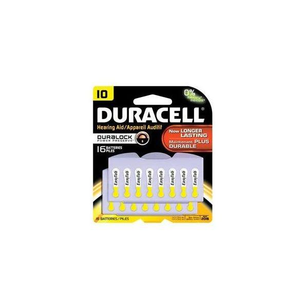 Duracell 1.4V Size 10 Zinc Air Hearing Aid Batteries - 16 Pack