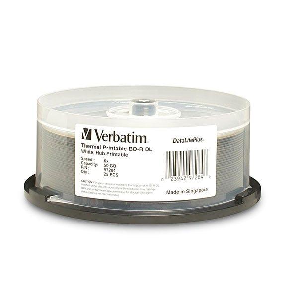 Verbatim White DataLifePlus Thermal Hub Printable 50GB 6X Blu-Ray DL - 25pc
