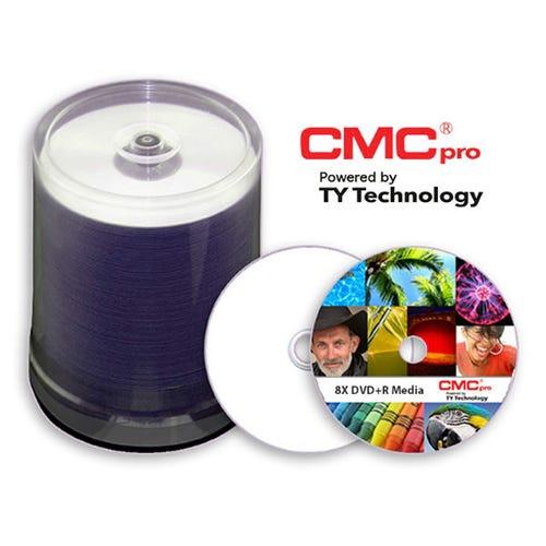 CMC Pro Taiyo Yuden 16X White Thermal Prism 4.7GB DVD-R Cake Box - 100pc