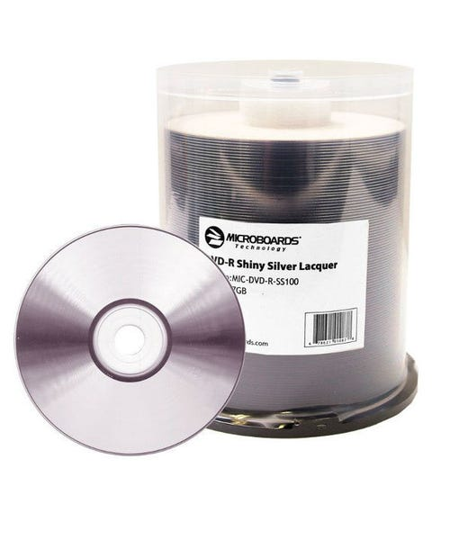 Microboards 16X 4.7GB - Shiny Silver - Lacquer - Hub Printable DVD-R Cake Box - 100pc