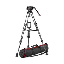 Manfrotto 504HD Professional Fluid Head and Twin Carbon Fibre Tripod Kit w/ Mid Level Spreader