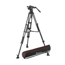 Manfrotto 612 Nitrotech Fluid Video Head and Aluminum Twin Leg Tripod with Middle Spreader