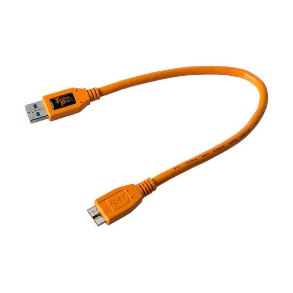 Tether Tools 1' TetherPro USB 3.0 Male Type-A to USB 3.0 Micro-B Cable - Orange