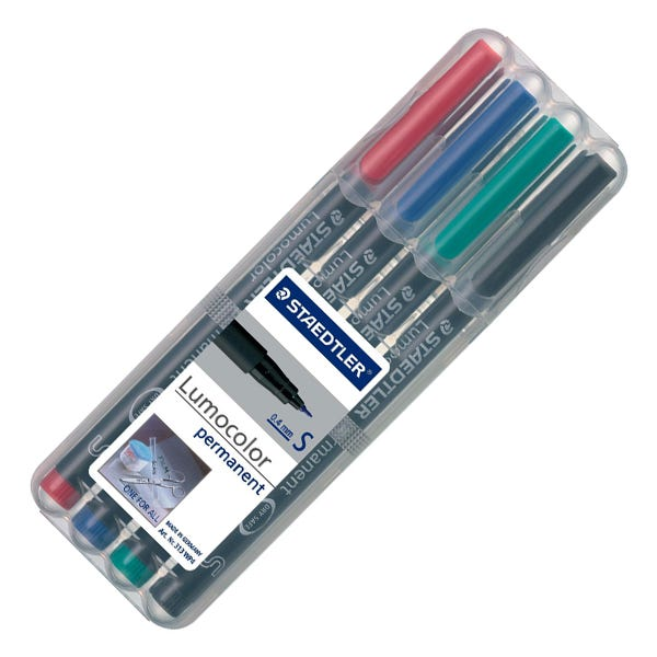 Staedtler SuperFine Lumocolor Permanent Marker Set - 4 Colors
