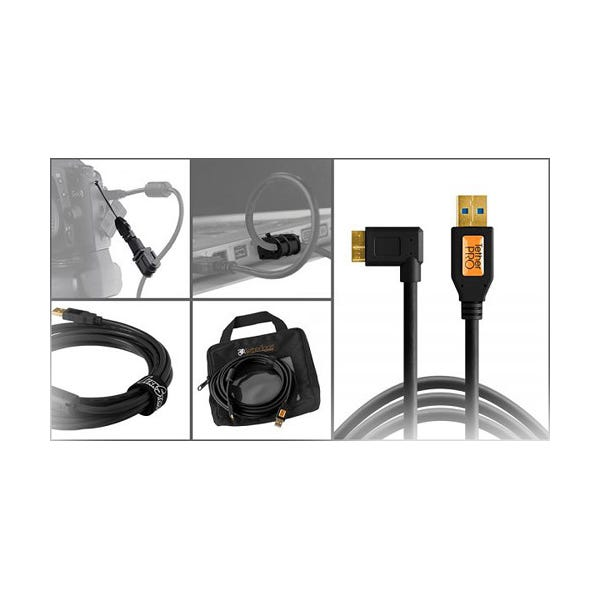 Tether Tools Starter Tethering Kit with USB 3.0 Micro-B Right Angle Cable - Black