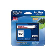 """Brother 1/2"""" P-Touch TZe Label Tape with Red Letters - White"""