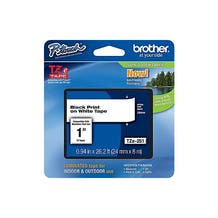 """Brother 1"""" P-Touch TZe Label Tape with Black Letters - White"""
