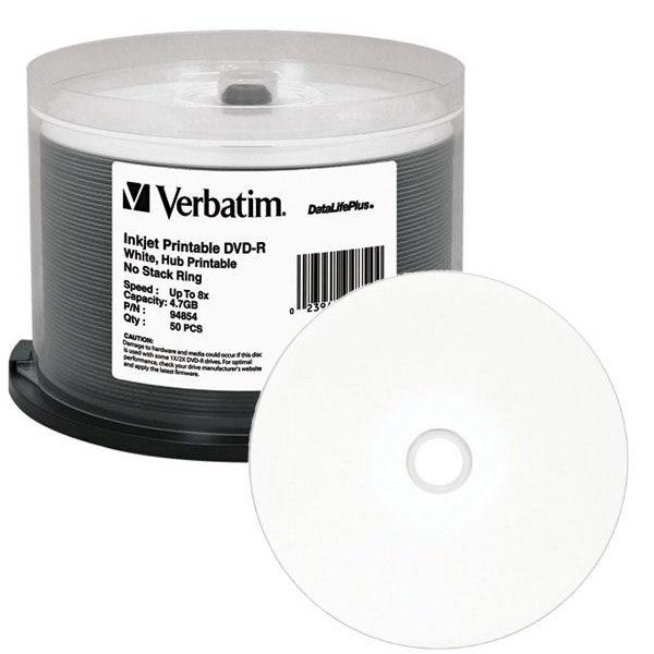 photograph relating to Printable Dvd-r identified as Verbatim 94854 DVD-R 4.7GB 8X DataLifePlus White Inkjet Printable, Hub Printable - 50computer