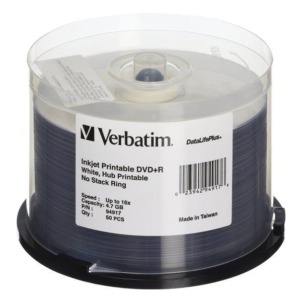 Verbatim 16X DataLifePlus White Inkjet Printable 4.7GB DVD+R - 50pc